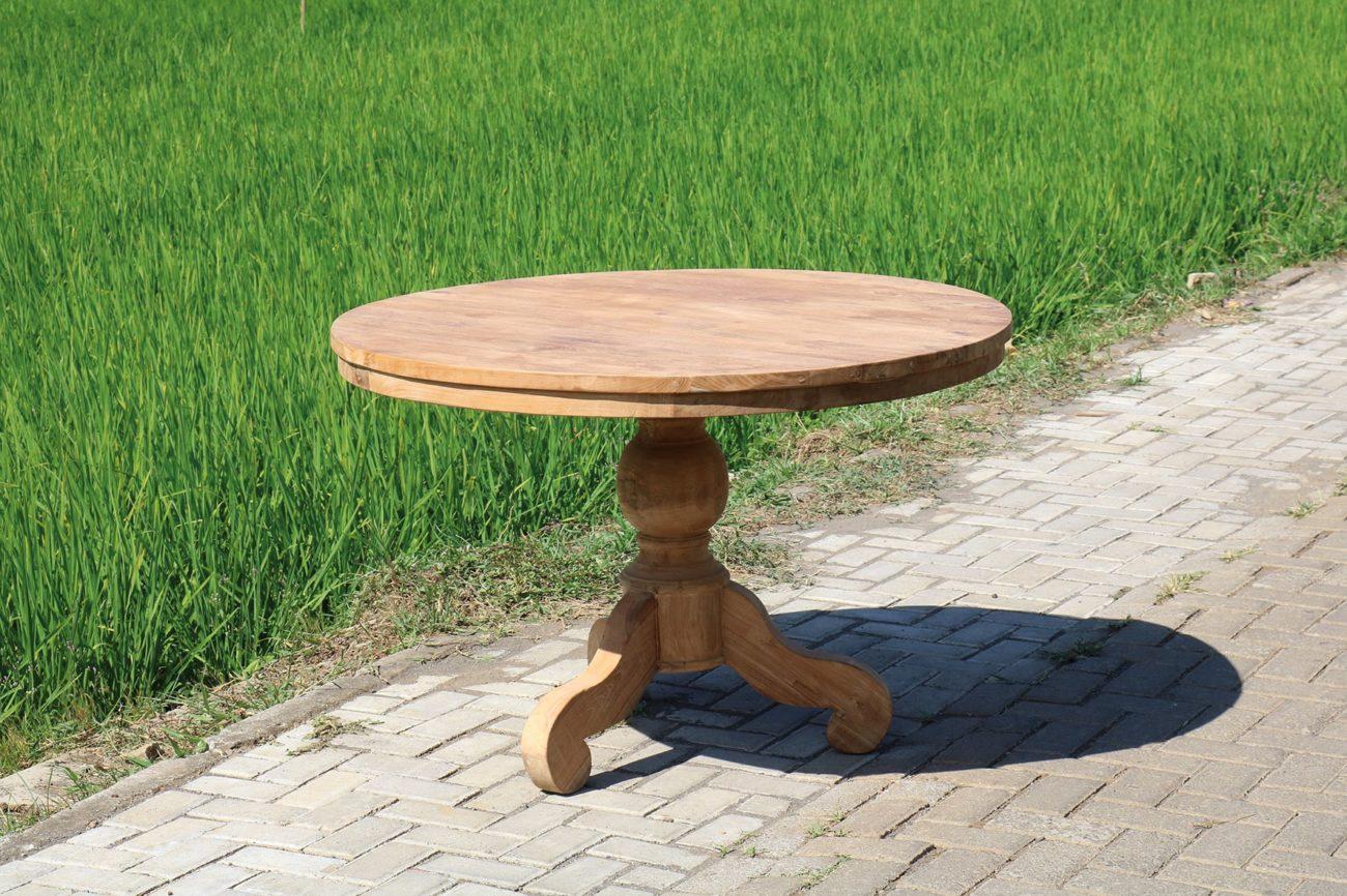 Eetkamertafel rond bolpoot teak en wood