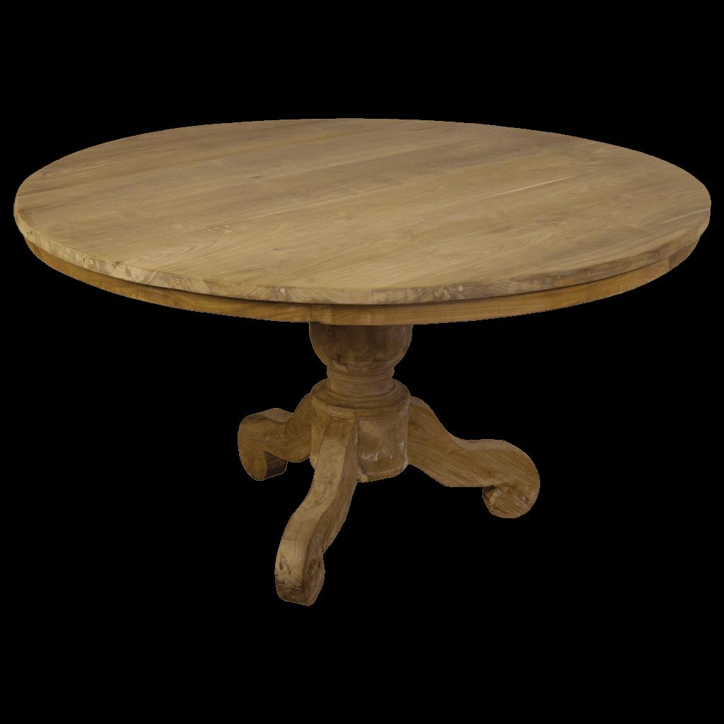 Eetkamertafel rond bolpoot teak en wood for Eettafel rond