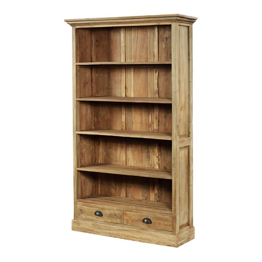 Teak boekenkast met 2 lades   Teak en Wood