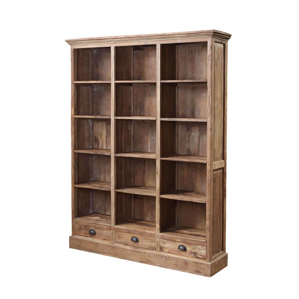 Teak boekenkast met 3 lades | Teak en Wood